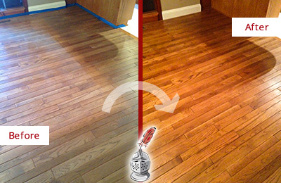 Before and After Picture of a Darby Wood Sandless Refinishing Service on a Dull Floor to Recover Its Sheen