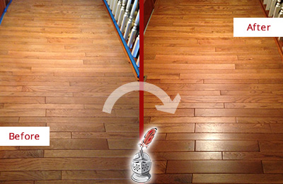 Before and After Picture of a Darby Wood Sandless Refinishing Service on a Dull Hallway