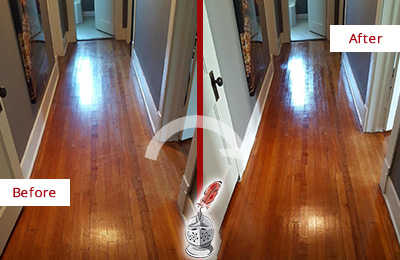 Before and After Picture of a Darby Wood Sandless Refinishing Service on a Floor to Eliminate Scratches
