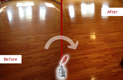 Before and After Picture of a Darby Wood Sandless Refinishing Service on a Room Floor to Remove Scratches