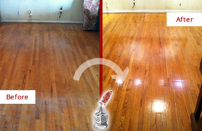 Before and After Picture of a Darby Wood Sandless Refinishing Service on a Stained Floor