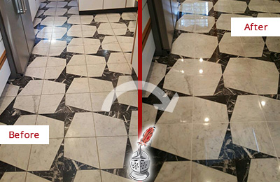 Before and After Picture of a Dull Nottingham Marble Stone Floor Polished To Recover Its Luster