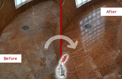 Before and After Picture of a Nottingham Marble Stone Shower Polished to Eliminate Mineral Deposits