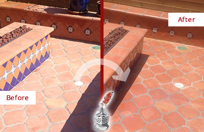 Before and After Picture of a Dull Bala Cynwyd Terracotta Patio Floor Sealed For UV Protection