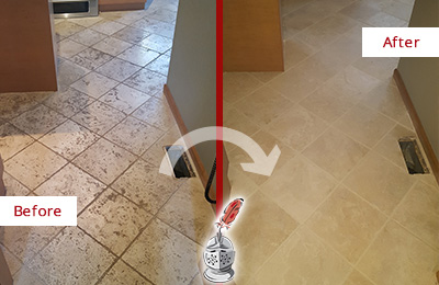 Before and After Picture of a Brandamore Kitchen Marble Floor Cleaned to Remove Embedded Dirt