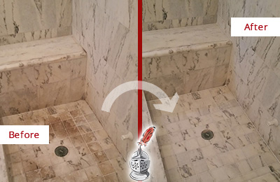 Before and After Picture of a Dirty Brandamore Marble Shower Cleaned to Eliminate Dark Stains
