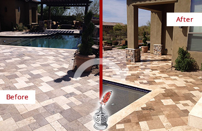 Before and After Picture of a Dull Brandamore Travertine Pool Deck Cleaned to Recover Its Original Colors