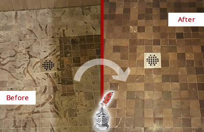 Before and After Picture of a Stained Brandamore Marble Shower Floor Cleaned to Remove Etching