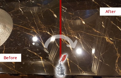 Before and After Picture of a Brandamore Marble Countertop Cleaned to Remove Water Spots