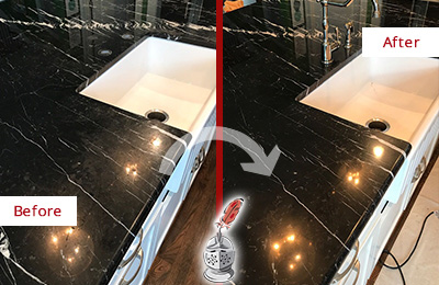 Before and After Picture of a Birchrunville Marble Kitchen Countertop Stone Sealed to Avoid Water Damage
