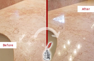 Before and After Picture of a Birchrunville Marble Stone Vanity Top Sealed to Avoid Water Marks