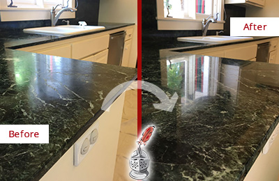 Before and After Picture of a Atglen Marble Kitchen Countertop Honed to Remove Water Marks