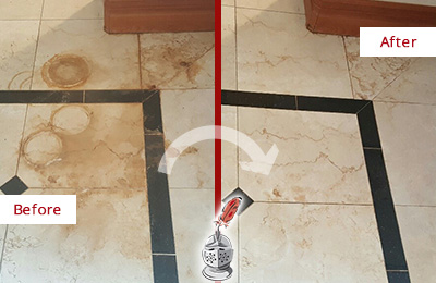 Before and After Picture of a Conshohocken Marble Floor Honed to Remove Rust Stains