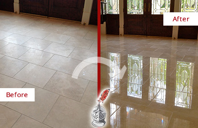 Before and After Picture of a Saint Peters Hard Surface Restoration Service on a Dull Travertine Floor Polished to Recover Its Splendor