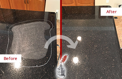 Before and After Picture of a Saint Peters Hard Surface Restoration Service on a Granite Countertop to Remove Scratches