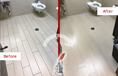 Before and After Picture of a Clifton Heights Office Restroom's Grout Cleaned to Remove Dirt