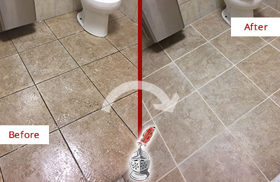 Before and After Picture of a Bryn Mawr Office Restroom Floor Recolored Grout