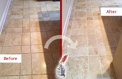 Before and After Picture of a Bryn Mawr Travertine Kitchen Floor Recolored Grout