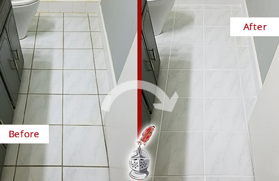 Before and After Picture of a Bryn Mawr White Ceramic Tile with Recolored Grout