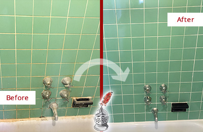 Before and After Picture of a Chatham Bath Tub Grout Sealed to Avoid Water Damage