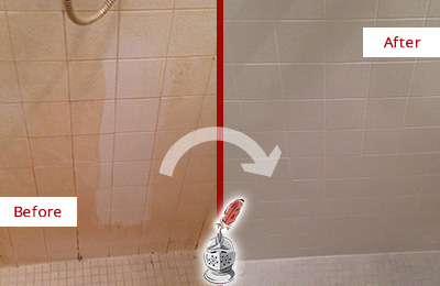 Before and After Picture of a Darby Porcelaine Shower Cleaned to Remove Soap Scum